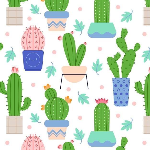 Buntes kaktusmuster dargestellt Premium Vektoren