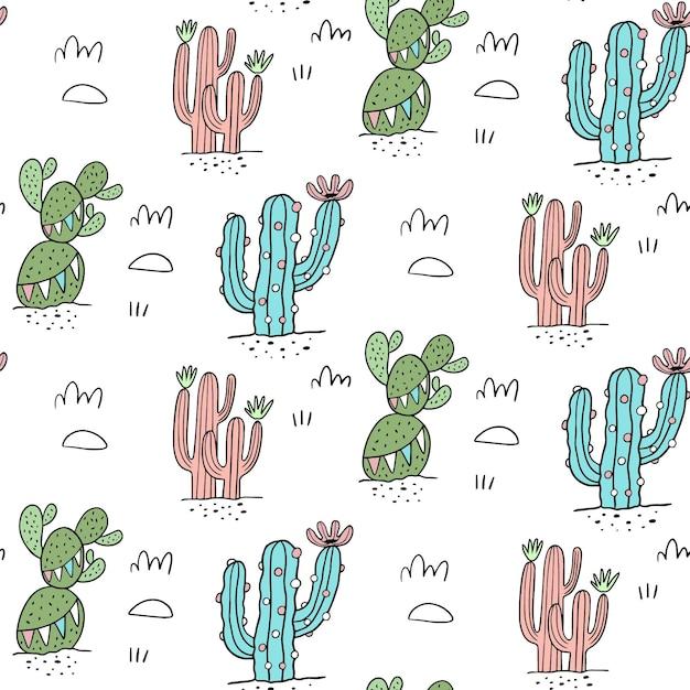 Buntes kaktusmuster Premium Vektoren