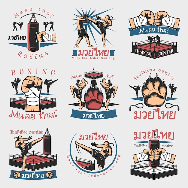 Buntes kickbox-emblem-set Kostenlosen Vektoren