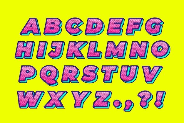 Buntes komisches alphabet 3d Kostenlosen Vektoren