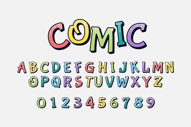 Buntes komisches alphabet 3d Premium Vektoren