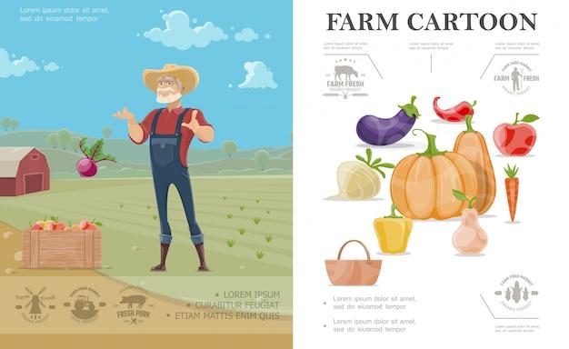 Buntes konzept der karikaturzucht mit auberginenrettichkürbis-apfel-karotten-pfeffer-birne und landwirt auf bauernhoflandschaft Kostenlosen Vektoren