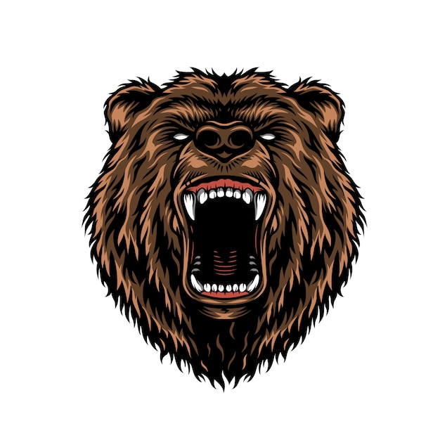 Buntes konzept des wilden aggressiven bärenkopfes Kostenlosen Vektoren