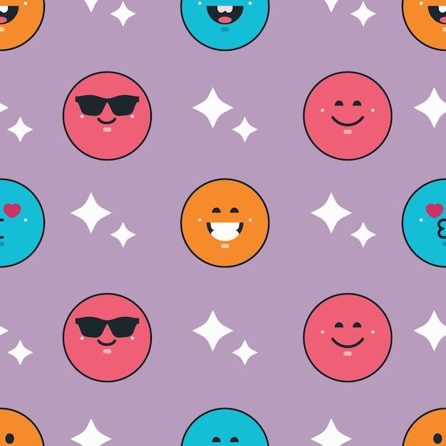 Buntes lächeln emoticons muster Kostenlosen Vektoren
