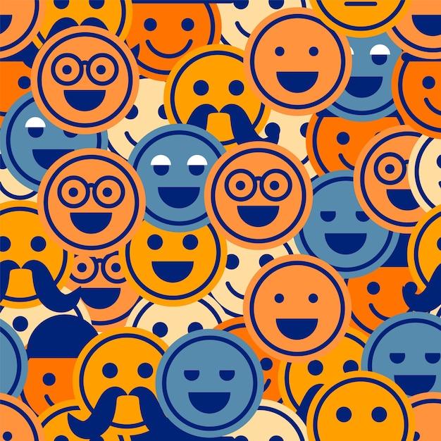 Buntes lächeln emoticons muster Premium Vektoren
