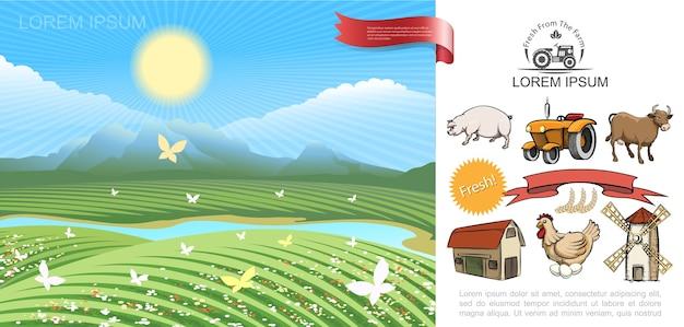 Buntes landwirtschaftskonzept Kostenlosen Vektoren