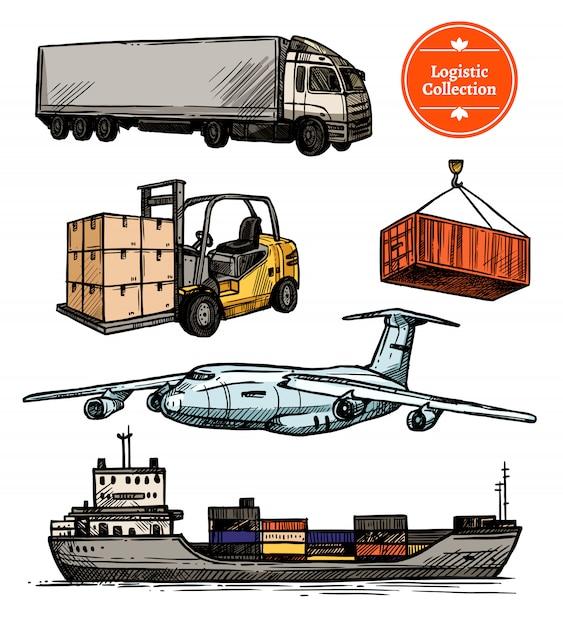 Buntes logistisches set Kostenlosen Vektoren