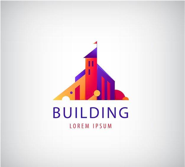 Buntes logo des abstrakten gebäudes lokalisiert auf grau Premium Vektoren