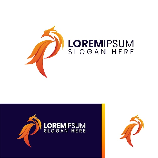 Buntes logo des feuerphönix Premium Vektoren