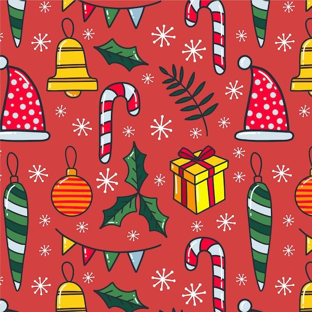 Buntes lustiges weihnachtsmuster Kostenlosen Vektoren