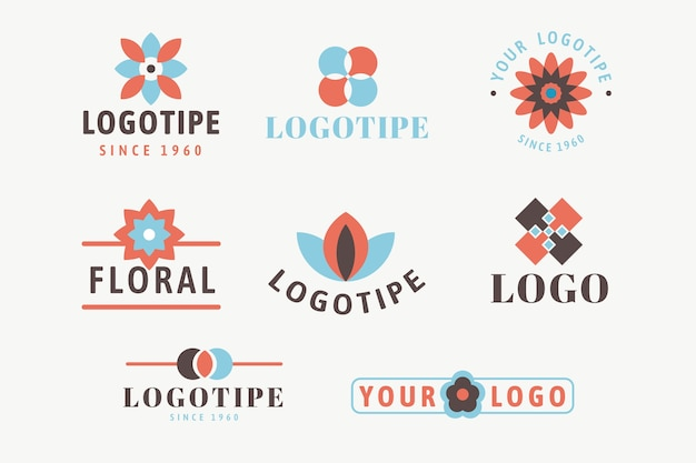 Buntes minimales logo eingestellt in retrostil Kostenlosen Vektoren