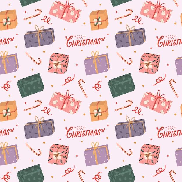 Buntes nahtloses muster für weihnachten und neues jahr mit feiertagsbeschriftung und traditionellen weihnachtselementen. Premium Vektoren