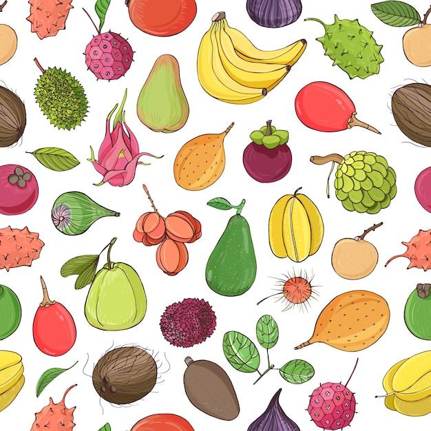 Buntes nahtloses muster mit leckeren süßen frischen saftigen exotischen tropischen früchten Premium Vektoren