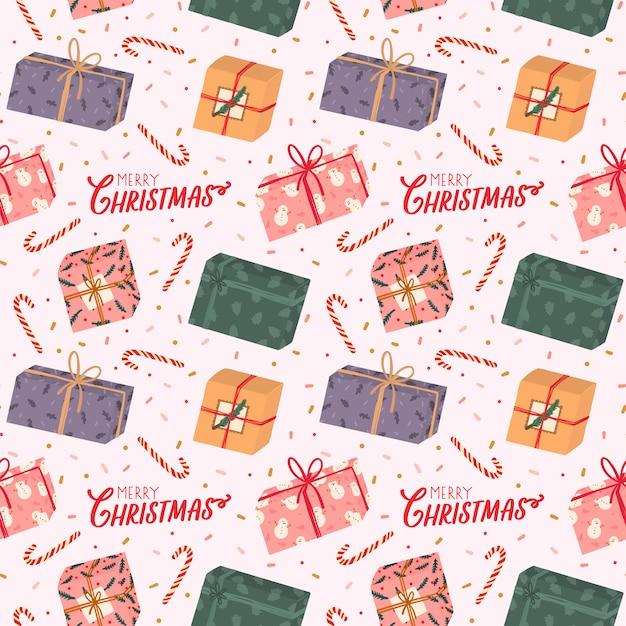 Buntes nahtloses muster mit verschiedenen geschenkboxen und traditionellen winterelementen für weihnachten und neues jahr in hygge-art. skandinavischen hintergrund. gemütliche wintersaison. Premium Vektoren