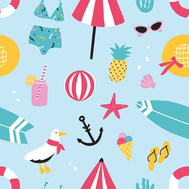 Buntes nahtloses sommermuster mit handgezeichneten elementen ananas, eis, möwe, surfbrett, ball, badebekleidung, hut, sonnenschirm, sonnenbrille, rettungsring, seestern, getränk, flip-flops, anker. Premium Vektoren