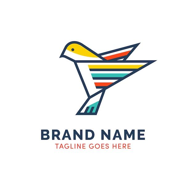 Buntes origamientwurfs-vogellogo Premium Vektoren