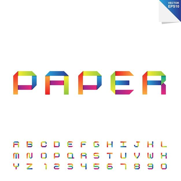 Buntes papieralphabet Premium Vektoren