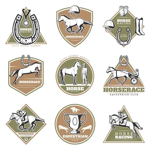 Buntes pferdesport-logoset Kostenlosen Vektoren