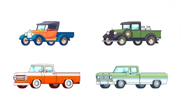 Buntes pickup-modell-set Kostenlosen Vektoren