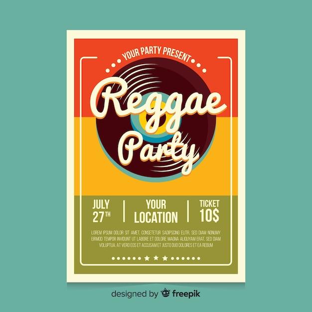 Buntes reggae-partyplakat mit flachem design Kostenlosen Vektoren