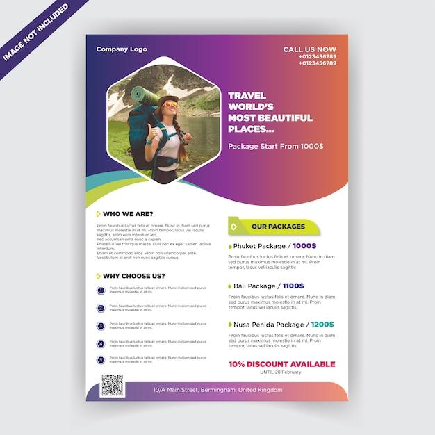Buntes reisebüro-flugblatt Premium Vektoren