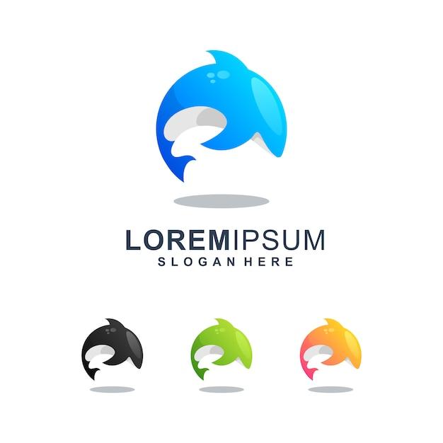 Buntes schwertwal-logo Premium Vektoren