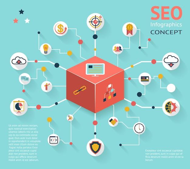 Buntes seo-infografik-symbol-konzept mit verschiedenen optionsergebnissen Kostenlosen Vektoren