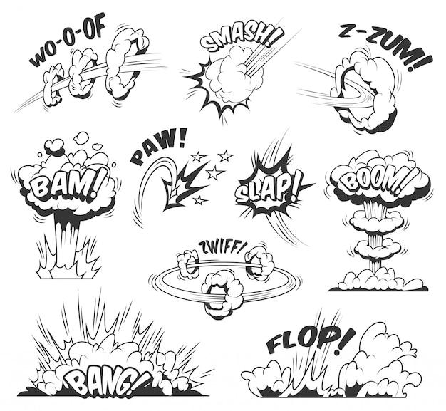 Buntes set der comic-explosionen mit verschiedenen formulierungen wolken explosiv und boom-effekte Kostenlosen Vektoren
