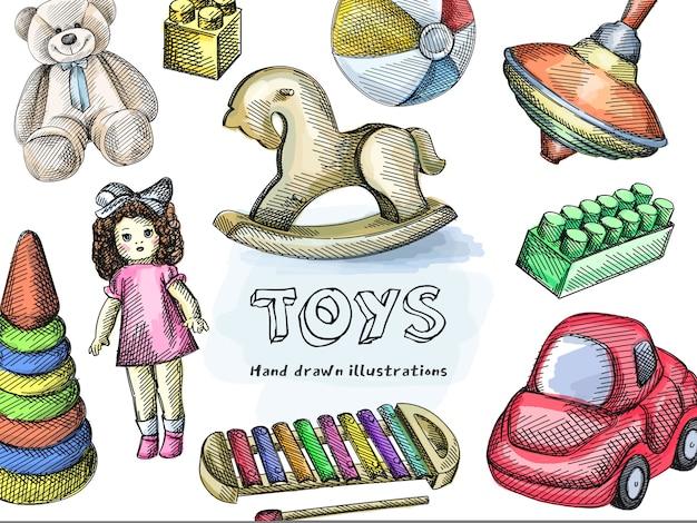 Buntes spielzeugset. kreisel, schaukelpferd, kleiner aufblasbarer zweifarbiger wasserball, konstruktionsstück, vintage-puppe, xylophon, spielzeugauto, stapelregenbogenpyramide, teddybär. buntes spielzeug Premium Vektoren