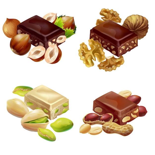 Buntes süßes produkt-set Premium Vektoren