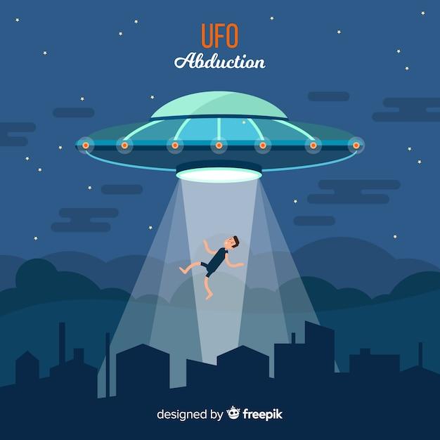 Buntes ufo-abduktionskonzept mit flachem design Kostenlosen Vektoren
