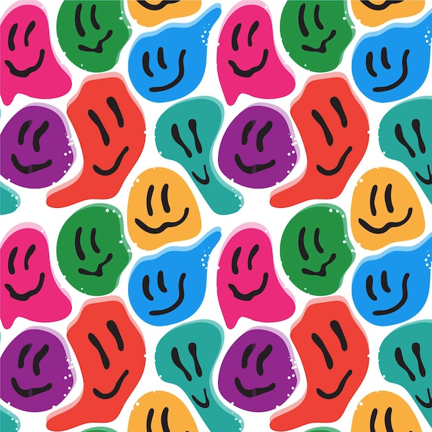 Buntes verzerrtes lächelnemikonikonmuster Kostenlosen Vektoren