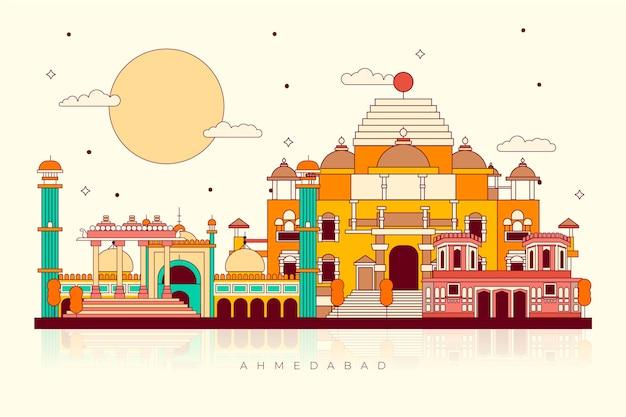 Buntes wahrzeichen der skyline von ahmedabad Kostenlosen Vektoren