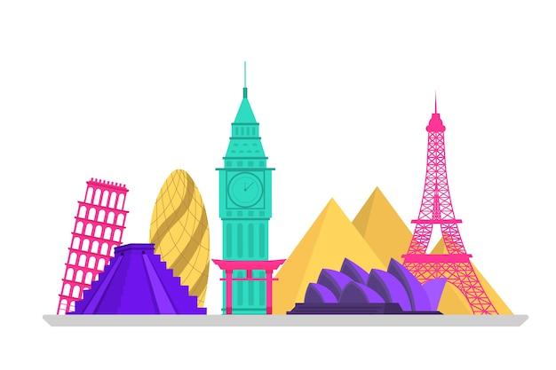 Buntes wahrzeichen-skyline-design Kostenlosen Vektoren