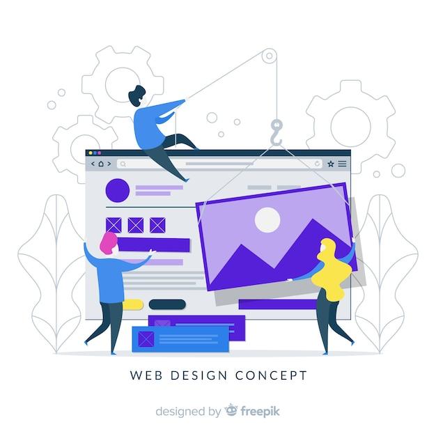 Buntes webdesignkonzept mit flachem design Kostenlosen Vektoren