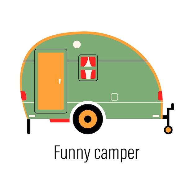 Buntes wohnmobil. unterhaltungsauto. mobilheim für erholung außerhalb der stadt und erholung im freien. Premium Vektoren