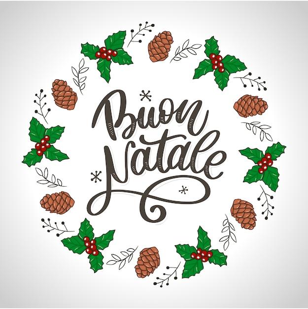 Buon natale. frohe weihnacht-gruß-karte Premium Vektoren
