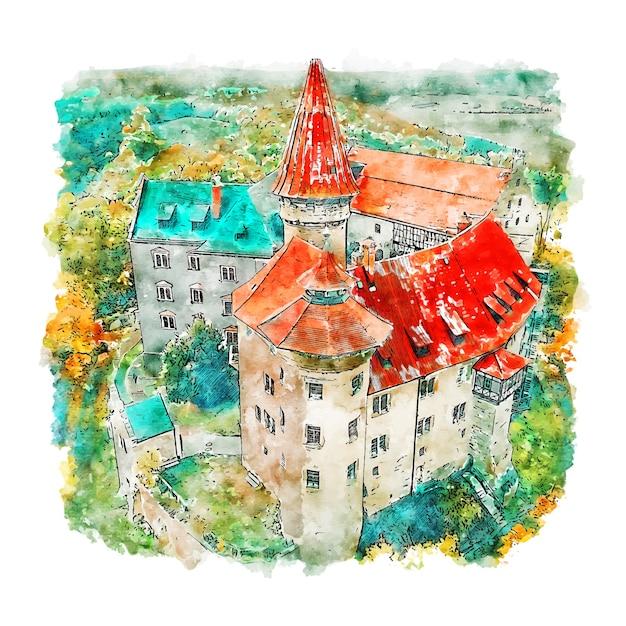 Burg heldburg schloss deutschland aquarell skizze hand gezeichnete illustration Premium Vektoren