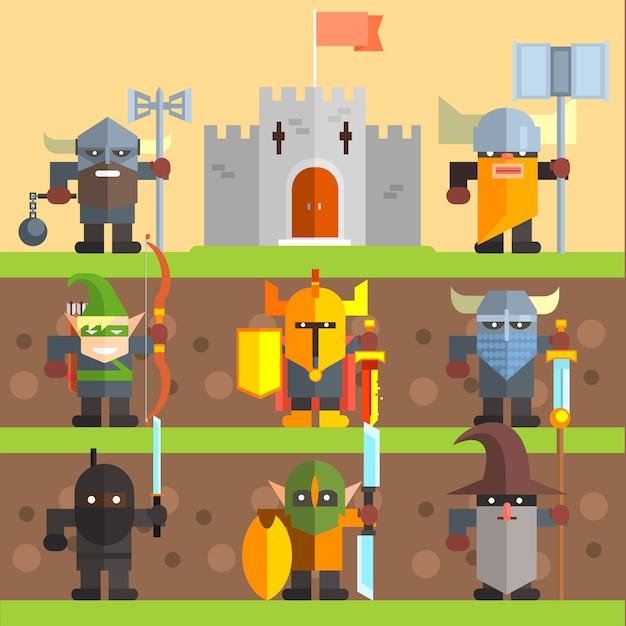 Burg und ritter. mittelalterliches spielset Premium Vektoren