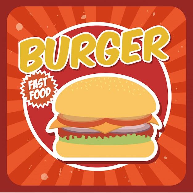 Burger design über grunge hintergrund vektor-illustration Premium Vektoren