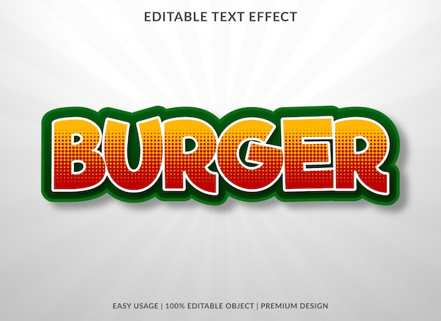 Burger food texteffekt Premium Vektoren