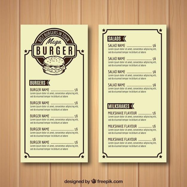 Burger Haus Menüvorlage   Download der kostenlosen Vektor