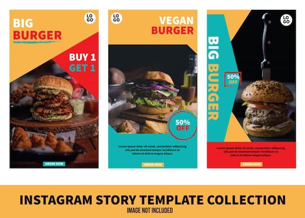 Burger instagram geschichte vorlagensammlung Premium Vektoren