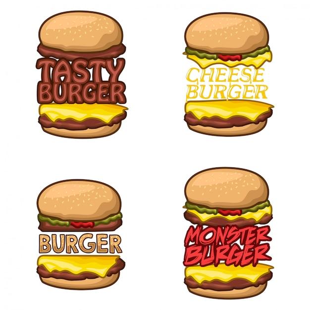 Burger logo lager vektor festgelegt Premium Vektoren