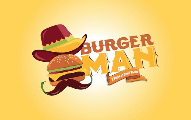 Burger man logo design Premium Vektoren
