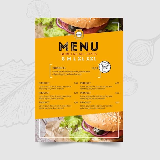 Burger restaurant menüvorlage Kostenlosen Vektoren