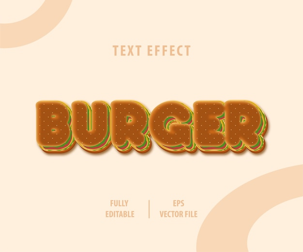 Burger text style effekt Premium Vektoren