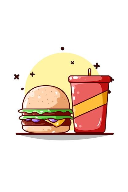Burger und softdrink illustration Premium Vektoren