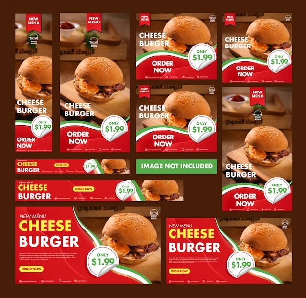 Burger-web-banner-auflistung Premium Vektoren