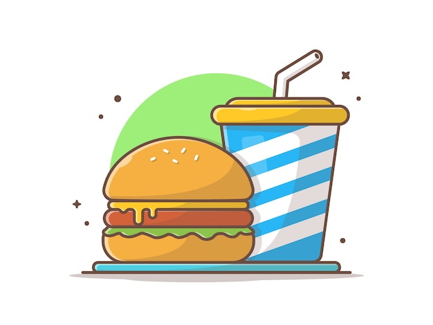 Burgerclipart mit soda und eis vektorclipart illustration Premium Vektoren
